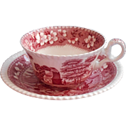 Copeland Spode's Tower Pink Vintage England Cup Saucer Large Old Mark