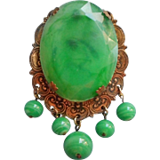 Vintage Glass and Plastic Brass Pin Brooch Edwardian Revival Late 1960s Green