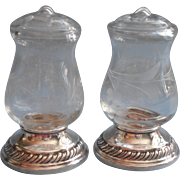 Sterling Silver And Glass Shakers Vintage Quaker Salt And Pepper