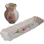 Belleek Pen Tray Desk Vase Set Country Trellis Pattern Pink Oriental Lilies