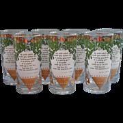 Midcentury Christmas Bar Glasses Tumblers Ogden Nash Mistletoe Set 7 - Red Tag Sale Item