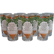 Midcentury Christmas Bar Glasses Tumblers Ogden Nash Mistletoe Set 7