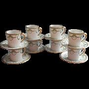 Royal Limoges Cheverny Demitasse Cups Saucer Set Vintage France Green White Gold Garlands