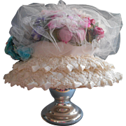 Vintage Hat Cellophane Straw Millinery Flowers Tulle