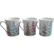 Queen's Summer Days 3 Vintage English Bone China Mugs