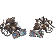 Iris Stones Vintage Art Deco Earrings Large Grape Leaf Form