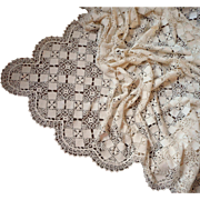 Vintage Bedspread Crocheted Lace 102 x 94 Queen Or Use As Tablecloth