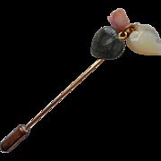 Vintage Stickpin Coral Jade Mother Of Pearl Dangles
