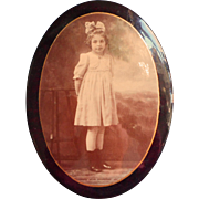 Antique Tin Photo Oval Pretty Littel Girl Child Celluoid Over Tin