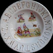 Antique Gnomes Child's ABC Alphabet Plate China TLC