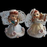 1950s Angel Girls Figurines Pair Wales Japan Vintage Gauze Wings Need TLC