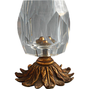 Vintage Cut Glass Crystal Brass Ormolu Lighter Base