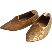 Vintage Brass Slippers Shoes Ashtrays Pair India