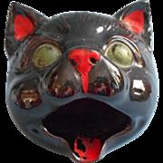 Vintage Black Cat Ashtray Midcentury Redware
