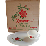 Rosecrest Snack Set Federal Glass Red Roses White Milk Glass Original Box