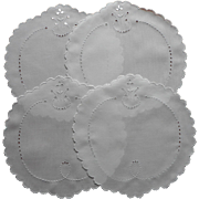 Dessert Doilies Antique Linen Cutwork Hand Embroidery Set 4