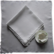 Madeira Napkins Large Fine Linen Scalloped Cutwork Corner Set 10