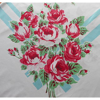 Vintage Tablecloth Pink Red Roses Turquoise Blue Stripes Printed Cotton Print