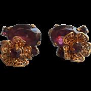 Vintage Czech Earrings Purple Glass Stones Filigree Flowers Screw Back Czechoslovakia