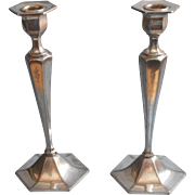 Monogram C Antique Candlesticks Tall Silver Plated Worn Shabby Elegant