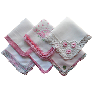 Vintage Hankies All With Pink Crocheted Lace Edging Hankie