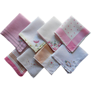1920s Little Hankies All With Pink Vintage Cotton Silk Linen