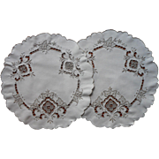 Pair Lamp Doilies Vintage Ecru Hand Embroidery Needle Lace Inserts