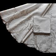Round Tablelcoth Napkins Set Vintage Madeira Cutwork Hand Embroidery Linen Ecru