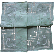 1920s ro 1930s Vintage Hankie Green Linen Unused Appliqued Hemstitching