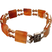 Agate Squares Tiny Freshwater Pearls Bracelet
