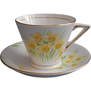 1920s to 30s English Bione China Cup Saucer Hand Painted Daffodils Narcissus Phoenix