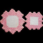 Vintage Hardanger Doilies 1920s Pink
