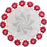 Vintage Crocheted Lace Doily Bright Pink Raised Flowers White