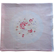 Vintage Printed Tablecloth Cotton Kitchen Palest Pink Shabby Cottage Charm