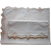 Vintage Sheet Pillowcases Set Circa 1920 Unused Crocheted Lace All Cotton