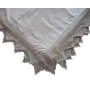 Antique Sheet Unused Filet Crocheted Lace Pointed Edging
