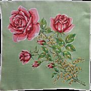 Vintage Hankie Printed Linen Green w Roses