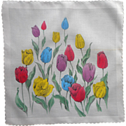 Vintage Hankie Tulips Print Hand Painted Effect Unused