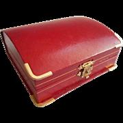 Vintage Watch Display Box Ladies Red Leatherette Jeweler Wristwatch Gift