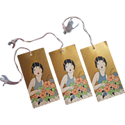 1920s Bridge Tally Card Cards Tallies Vintage Flapper Girl Gold