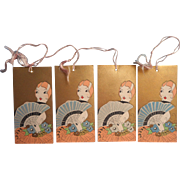 1920s Bridge Tally Card Cards Tallies Vintage Flapper Girl Blonde w Gold