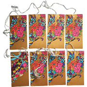 1920s Bridge Tally Card Cards Tallies Vintage Vibrant Colors Gold Butterfly Bird