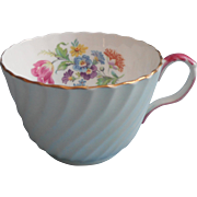 Aynsley English Bone China Cup Blue Swirl Pink Handle Vintage Floral