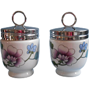 Royal Worcester Astley Pair Egg Coddlers China Chrome Lids