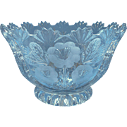 Vintage Crystal Bowl European Pressed Wheel Cut Flowers May Be Hofbauer