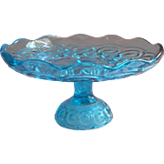 Vintage Moon And Star Glass Cake Pedestal Stand L.E. Smith Colonial Blue Turquoise Pressed