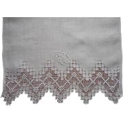 Vintage Hand Towel Lovely Monogram Linen Ornate Hand Drawn Work Border