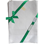 Irish Linen Damask Napkins Set 12 Unused Original Labels 22 Inch Hand Hemmed
