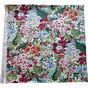 Waverly Fabric Yardage Vintage Bermudaful Cotton Chintz 3 Yards Unused