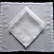 Classic Linen Napkins Set 6 Vintage Hemstitched Border
